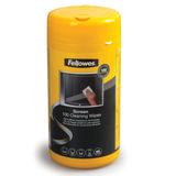 Чистящие салфетки FELLOWES, в тубе, 100 шт., влажные, для экранов мониторов и оптических поверхностей