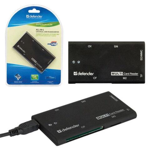 Картридер DEFENDER SUPERIOR SLIM USB 2.0, порты SD/<wbr/>MMC, TF, M2, CF, XD, MS