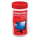Чистящие салфетки ОФИСМАГ, в тубе, 100 шт., влажные, для экранов