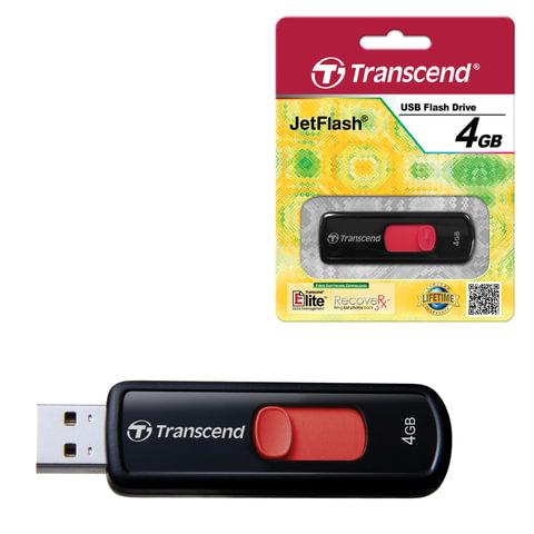 Флэш-диск 4 GB, TRANSCEND JetFlash 500, USB 2.0, черный