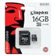 ����� ������ micro SDHC, 16 Gb, KINGSTON, �������� �������� ������ 4 ��/<wbr/>���. (class 4), � ���������