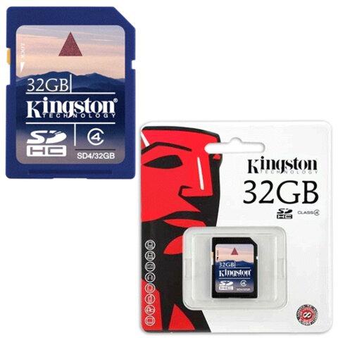 Карта памяти SDHC, 32 Gb, KINGSTON, скорость передачи данных 4 Мб/<wbr/>сек. (class 4)