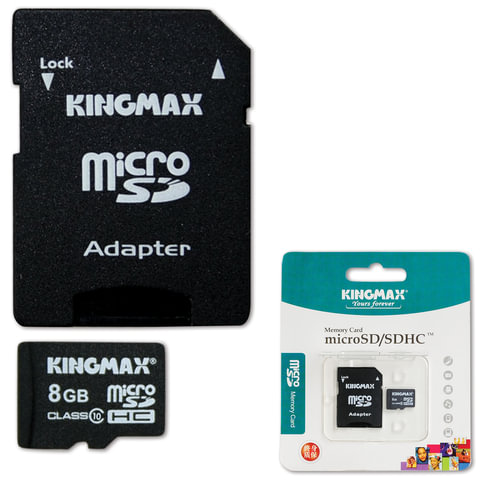 Карта памяти micro SDHC, 8 Gb, KINGMAX, скорость передачи данных 10 Мб/сек. (class 10), с адаптером