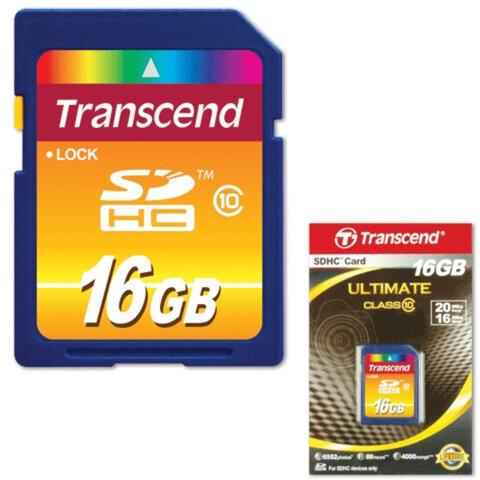 Карта памяти SDHC, 16 Gb, TRANSCEND, скорость передачи данных 10 Мб/<wbr/>сек. (class 10)
