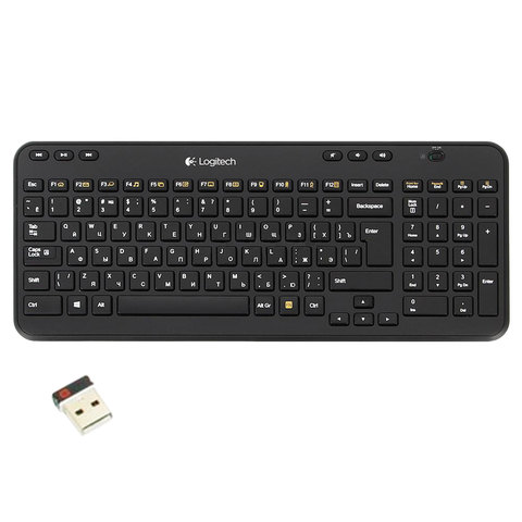 Клавиатура беспроводная LOGITECH K360, 104 клавиши + 6 дополнительных клавиш, мультимедийная, черная