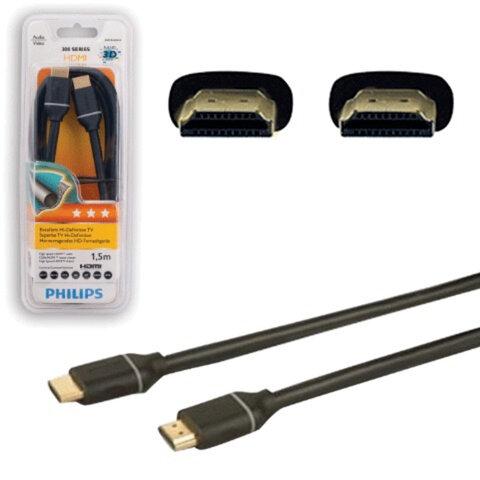 Кабель HDMI, 1,5 м, PHILIPS, М-М, экранированный для передачи цифрового аудио-видео