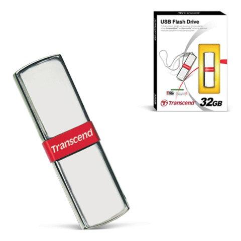 Флэш-диск 32 GB, TRANSCEND Jet Flash V85, USB 2.0, металлический корпус, серебристый