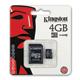 Карта памяти micro SDHC, 4 GB, KINGSTON, скорость передачи данных 10 Мб/<wbr/>сек. (class 10), с адаптером