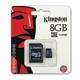 Карта памяти micro SDHC, 8 GB, KINGSTON, скорость передачи данных 10 Мб/<wbr/>сек. (class 10), с адаптером