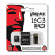 ����� ������ micro SDHC, 16 GB, KINGSTON, �������� �������� ������ 4 ��/<wbr/>���. (class 4), � 2 ���������� SD, USB