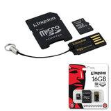 Карта памяти micro SDHC, 16 GB, KINGSTON, скорость передачи данных 10 Мб/<wbr/>сек. (class 10), с 2 адаптерами SD, USB