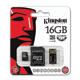 ����� ������ micro SDHC, 16 GB, KINGSTON, �������� �������� ������ 10 ��/<wbr/>���. (class 10), � 2 ���������� SD, USB