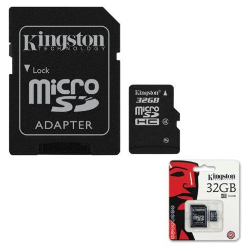 Карта памяти micro SDHC, 32 GB, KINGSTON, 4 Мб/сек. (class 4), с адаптером