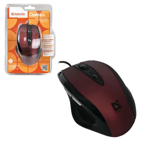 Мышь проводная оптическая DEFENDER Opera 880, USB, 5 кнопок + 1 колесо-кнопка, красная/<wbr/>черная