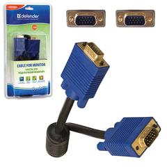 Кабель VGA, 1,8 м, DEFENDER, 2 фильтра, для передачи аналогового видео