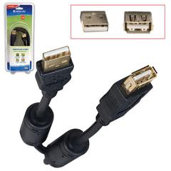 Кабель-удлинитель USB 2.0, 1,8 м, DEFENDER, M-F, 2 фильтра, для подключения периферии
