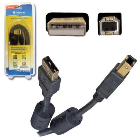Кабель USB 2.0 AM-BM, 1,8 м, DEFENDER, 2 фильтра, для подключения принтеров, МФУ и периферии