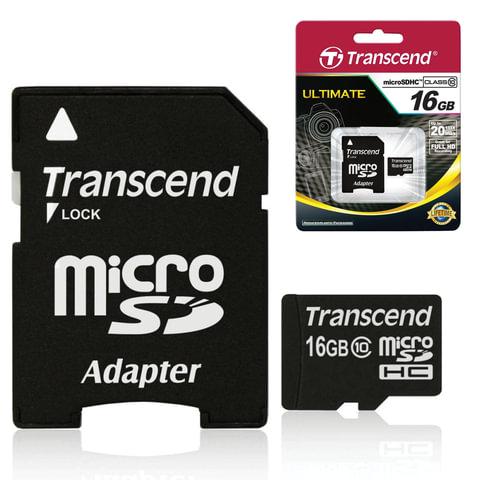 Карта памяти micro SDHC, 16 GB, TRANSCEND, 10 Мб/сек. (class 10), с адаптером