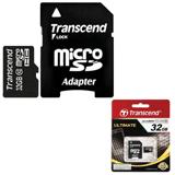 Карта памяти micro SDHC 32 GB TRANSCEND, скорость передачи данных 10 Мб/<wbr/>сек. (class 10), с адаптером
