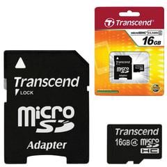 Карта памяти micro SDHC, 16 GB, TRANSCEND, 4 Мб/<wbr/>сек. (class 4), с адаптером