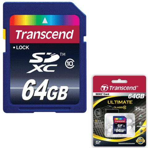 Карта памяти SDXC 64 GB TRANSCEND, скорость передачи данных 16 Мб/<wbr/>сек. (class 10)