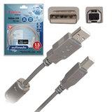 Кабель USB 2.0 AM-BM, 1,5 м, BELSIS, 1 фильтр, для подключения принтеров, МФУ и периферии