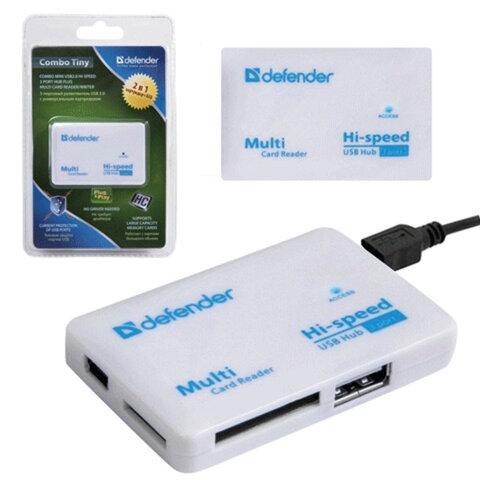 Картридер+USB хаб DEFENDER COMBO TINY, USB 2.0, порты SD/<wbr/>MMC, TF, M2, MC