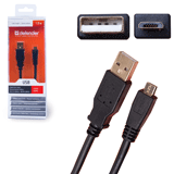 Кабель USB 2.0 AM-MicroBM DEFENDER USB08-06PRO, 1,8 м, блистер