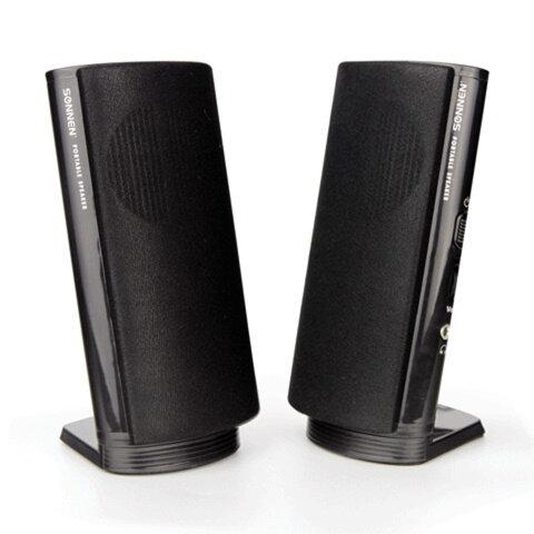 Колонки компьютерные SONNEN SP-С1, 2.0, 2х2 W, пластик, черные, разъем для наушников