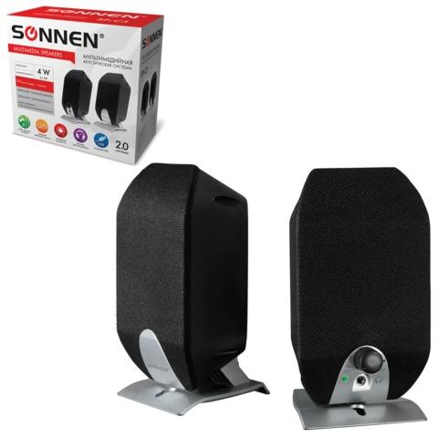 Колонки компьютерные SONNEN SP-С3, 2.0, 2×2 W, пластик, черные, разъем для наушников