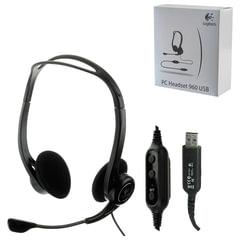Наушники с микрофоном (гарнитура) LOGITECH PC 960, проводная, компьютерная, 2,4 м, стерео, USB, черная