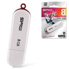 Флэш-диск 8 GB, SILICON POWER Luxmini 320, USB 2.0, белый