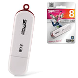 Флэш-диск 8 GB, SILICON POWER Luxmini 320, USB 2.0, белый