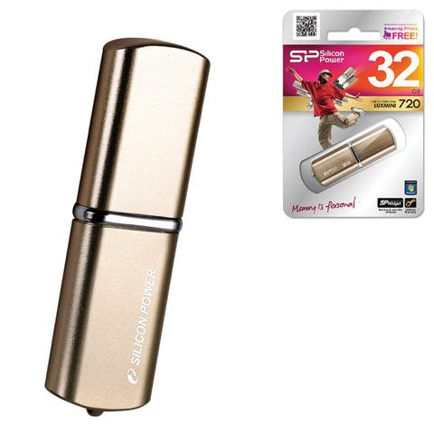 Флэш-диск 32 GB, SILICON POWER Luxmini 720, USB 2.0, металлический корпус, бронзовый
