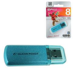 Флэш-диск 8 GB, SILICON POWER Helios 101, USB 2.0, металлический корпус, голубой