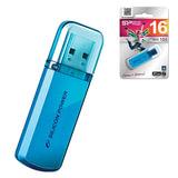 Флэш-диск 16 GB, SILICON POWER Helios 101, USB 2.0, металлический корпус, голубой