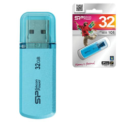 Флэш-диск 32 GB, SILICON POWER Helios 101, USB 2.0, металлический корпус, голубой