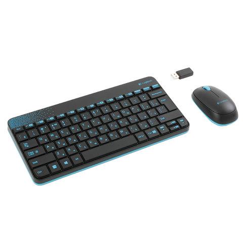 Набор беспроводной LOGITECH Wireless Combo MK240, клавиатура, мышь 2 кнопки + 1 колесо-кнопка, черный/<wbr/>голубой