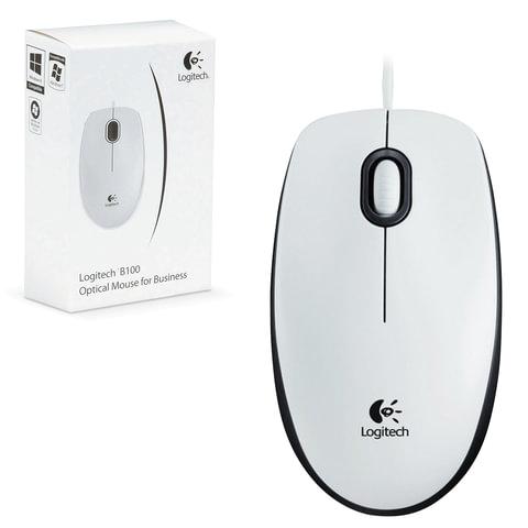 Мышь проводная LOGITECH B100, USB, 2 кнопки + 1 колесо-кнопка, оптическая, белая