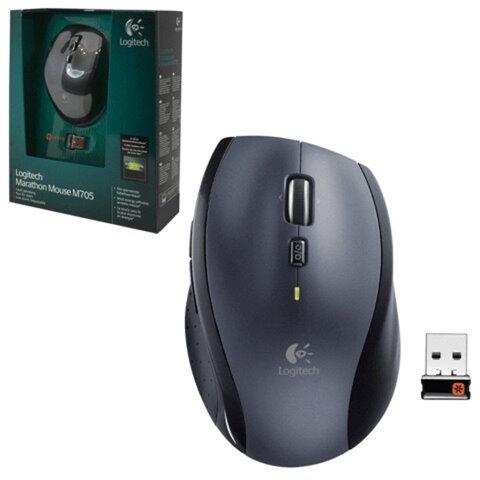 Мышь беспроводная лазерная LOGITECH Marathon M705, 6 кнопок + 1 колесо-кнопка, цвет серый/<wbr/>черный