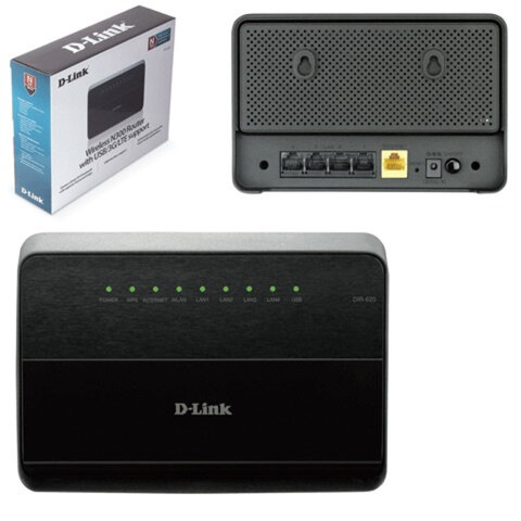 Маршрутизатор D-LINK DIR-620, 1 WAN, 4 LAN, 10/100 Мбит/с, WI-FI 802.11n, 300 Мбит/с, 3G