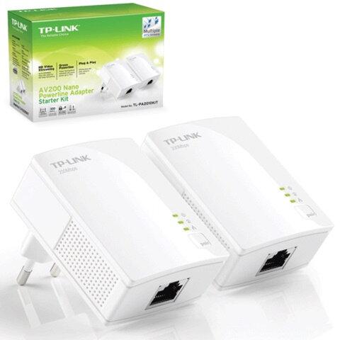 Адаптер-PowerLine TP-LINK TL-PA2010KIT, 1 WAN, 10/<wbr/>100 Мбит/<wbr/>с, по сети 200 Мбит/<wbr/>с, 2 штуки