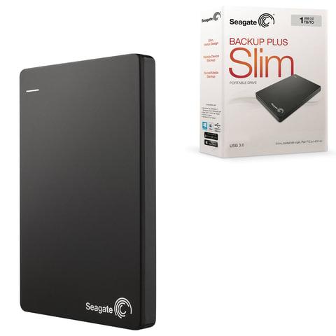 Диск жесткий внешний SEAGATE Backup Plus Slim, 1TB, USB 3.0/<wbr/>2.0, черный