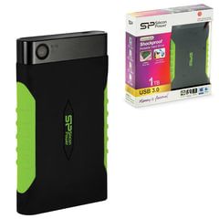 Диск жесткий внешний HDD SILICON POWER Armor A15, 1 TB, USB 3.0, ударостойкий, черный/<wbr/>зеленый