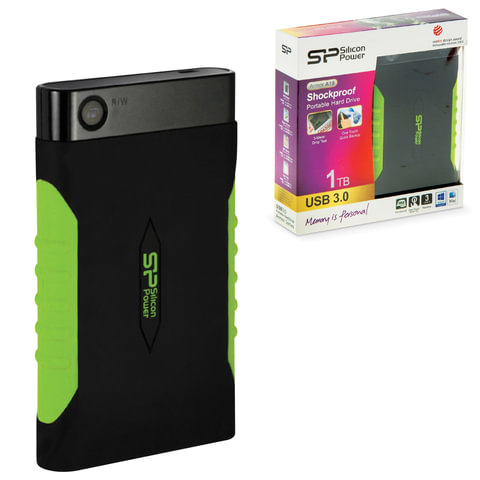 Диск жесткий внешний SILICON POWER Armor A15, 1 TB, USB 3.0, ударостойкий, черный/зеленый