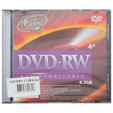 Диски DVD-RW VS, 4,7 Gb, 4x, Slim Case, комплект 5 шт.