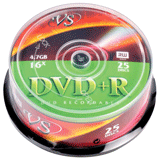 ����� DVD+R VS, 4,7 Gb, 16x, 25 ��., Cake Box