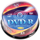 ����� DVD-R VS, 4,7 Gb, 16x, 25 ��., Cake Box, � ������������ ��� ������