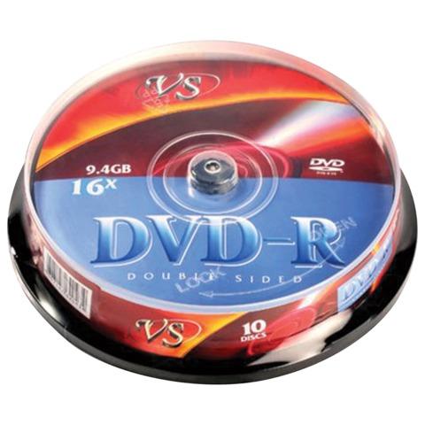 Диски DVD-R VS, 9,4 Gb, 16x, 10 шт., Cake Box, двухсторонний