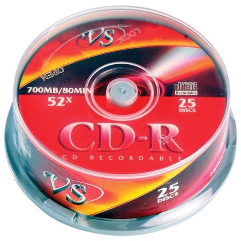 Диски CD-R VS, 700 Mb, 52x, 25 шт., Cake Box, с поверхностью для печати